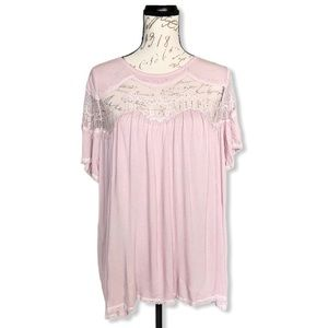POL Dusty Rose Lace Accent Top